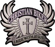 LARGE I Ride with Jesus Christian Biker Wings Cross Motorcycle Rider 25cm X 22cm Iron on BACK PATCH D33