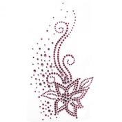 Rhinestone Transfer Hot Fix Motif Fashion Design Jewellery Cushion Pink Flower 3 Sheets 4.1*20cm