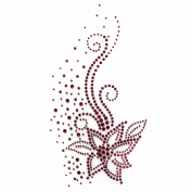 Rhinestone Transfer Hot Fix Motif Fashion Design Jewellery Cushion Red Flower 3 Sheets 4.1*20cm
