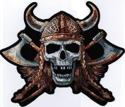 Viking Skull Awesome Large Embroidered Quality Biker BACK Vest Patch LRG-0020