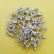 Applique Craft SupplyBridal Wedding Silver Metal Brooch Embellished Simulated Stone Applique 1Pc