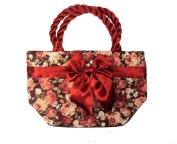 Rare Asian Red Flower - Pattern Handbag Handmade Bag From Borsang ,Sankumpaeng,chiangmai,thailand