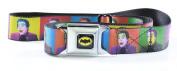 Retro Batman Logo Full Colour Black/Yellow Seatbelt - Retro Joker Expressions Webbing