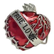 True Love Red Enamel Heart Silver Unique Belt Buckle