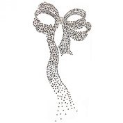 Rhinestone Transfer Hot Fix Motif Fashion Design Jewellery Brown Ribbon 3 Sheets 4.3*22cm