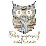 Rhinestone Transfer Hot Fix Motif Fashion Design Jewellery Cushion Mini Owl Deco 3 Sheets 3.5*12cm