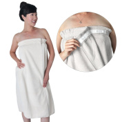 Light Beige Microfiber Spa Wrap w/ SNAP BUTTONS Enclosure, Large