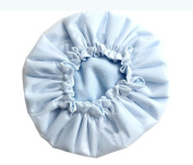 Kobwa(TM) Light Blue Microfiber Double Layers Elastic Reusable Waterproof Shower Cap Bath Cap +Free Keyring