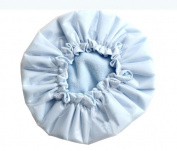 Kobwa(TM) Light Blue Microfiber Double Layers Elastic Reusable Waterproof Shower Cap Bath Cap +Free Keyring
