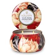 Voluspa Yuzu Rose Stonecrop 2 Wick Maison Metallo Candle