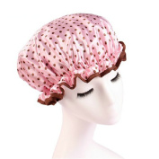 Ayygiftideas Classic Polka Dot Shower Cap Sateen Fabric Waterproof Elastic Band