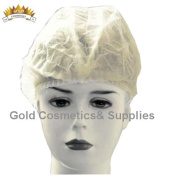 2000 Ct. White Disposable Accordion BOUFFANT CAP Non Woven Facial Hair Shower Client