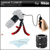 """Extreme Close-Up Photography Kit For Nikon Df, D610, D600, D90, D5300, D5200, D5100, D7100, D7000, D3300, Includes Auto Focus Macro Extension Tube Set (12mm, 20mm, 36mm) For Nikon DSLR + Remote Shutter Release (Replaces Nikon MC-DC2) + 12"""" Flexible Tripod"""