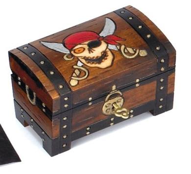 KIDS LOVE THIS PIRATE SKULLS TREASURE CHEST BOX w/ Lock and Key ...