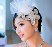 Two Pieces Lace Wedding Bridal Rhinestone Veil Hair Dress