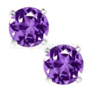6.00MM 925 Sterling Silver Purple & White Zircon Earrings Stud Earring