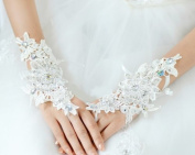 Fingerless Rhinestone & Sequins Bridal Lace Gloves