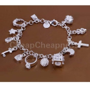 New Sterling Solid Silver Plated Luxury 13 Charms Ring Moon Bracelet