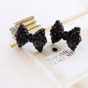 A Pair Fashion Cute Black Rhinestone Crystal Bowknot Bow Tie Stud Earring