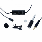 Movo LV1 Lavalier Lapel Clip-on Omnidirectional Condenser Microphone for Cameras, Camcorders & Smartphones