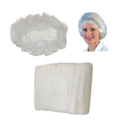 Huini 200pcs Disposable Non-woven Hair Net Cap Mob Elastic Free Size