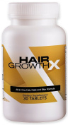 Hair Growth X - Hair, Skin & Nails Growth Support Supplement, Hair Loss Treatment for Men and Women with Biotin, Vitamins, Minerals, Natural Herbal Extracts and Amino Acids - 30 Extra Strength Pills/Tablets