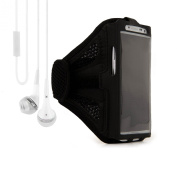 Adjustable Fabric Strap Workout Sports Armband for LG Smartphone - Black + VanGoddy Headphone with MIC ,White