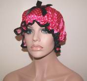 Stylish Waterproof Satin Spa Shower Cap Bath Cap - Spot Pink - Young and Pretty