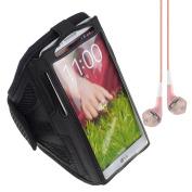 Black Sport Band / Workout Armband Adjustable Fabric Strap for LG Nexus 5 lg nexus 4 lg g2 + VanGoddy Headphone with MIC , Pink