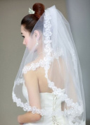 1t 1 Tier Sequins Flower Edge Bridal Wedding Veil
