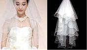1T 1 Tier Beaded Edge Bridal Wedding Veil