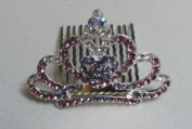 Mini Princess Rhinestone Hair Comb Tiara --- Purple