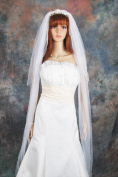 Bridal Wedding Veil 2 Tiers Long Cathedral Length White Standard Cut Edge