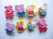 8 New Arrival Rare Peppa Pig Shoe Charms for Croc Shoes & Wristband Bracelet
