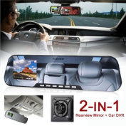 inDigi® NEW! 2-in-1 Car DVR + Rearview Mirror Recorder HD 1080p 2.7-inch TFT-LCD H.264.