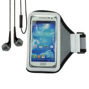Grey Comfy Sport Band / Workout Armband Adjustable Neoprene Strap for Motorola Smartphone + VanGoddy Headphone with MIC,Black