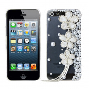 EVTECH(TM) Pearl Flower GEM Series Luxury Crystal Diamond Bling Design Cover Case Iphone 4 4g 4s