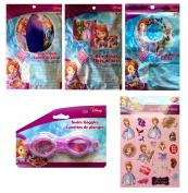 Sofia the First 4 Set of Inflatable Swim Toys , Swim Ring, Inflatable Beach Ball, Arm Floats, Swim Goggles and Special Stickers