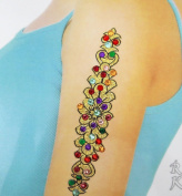 Indian Acrylic Bead Multicolor Glitter Art Back Shoulder Women Temporary Tattoo