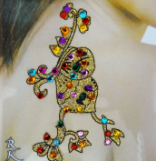 Multicolor Acrylic Bead Glitter Art Back Shoulder Indian Women Temporary Tattoo