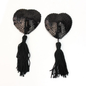 AllBueaty 1 Pair Black Lingerie Sequin Heart-shaped Tassel Breast Bra Nipple Cover Pasties