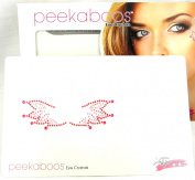 Peekaboos Eye Crystals Red Pink Wings Tattoo Temporary Self Adhesive Flames