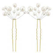 NAVA 2Pcs White Flower Pearl Hair Pin Bride Bridal Headpiece Wedding Accessories