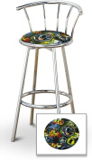 New Batman Themed Fabric Swivel Seat Bar Stools! 70cm Seat Height with a Chrome Finish