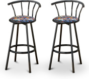 New Superman Themed Fabric Swivel Seat Bar Stools! 70cm Seat Height with a Black Finish