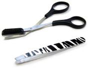 Precision Beauty Eyebrow Shaping Scissors with Zebra Print Slant Tweezer