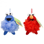 Sesame Street Poofie Pals Elmo and Cookie Monster Bath Pouffe, Kid's Loofah for Bath and Showers, Bath Time Fun