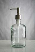 Clear Recycled Glass Soap Dispenser w/ Rustic Stainless Pump