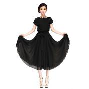 Piggy2gether- Elastic Waist Chiffon Plus Size Loose Dress Beach dress, Black