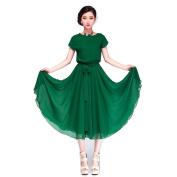 Piggy2gether- Elastic Waist Chiffon Plus Size Loose Dress Beach dress, Green